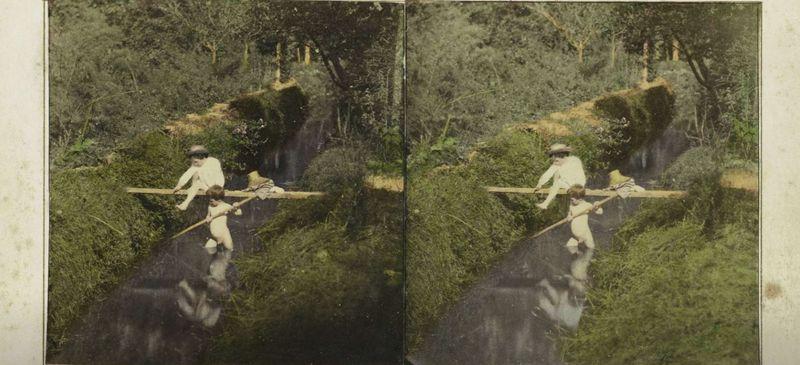 Rijks_Spelende kinderen in beek in bos, LM, 1855 - 1865