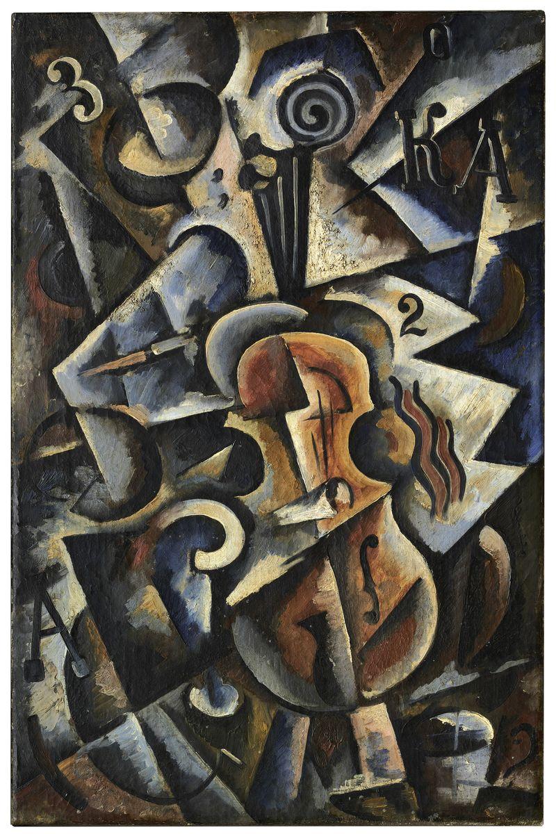 5 Popova, Kubo-futuristische compositie met viool