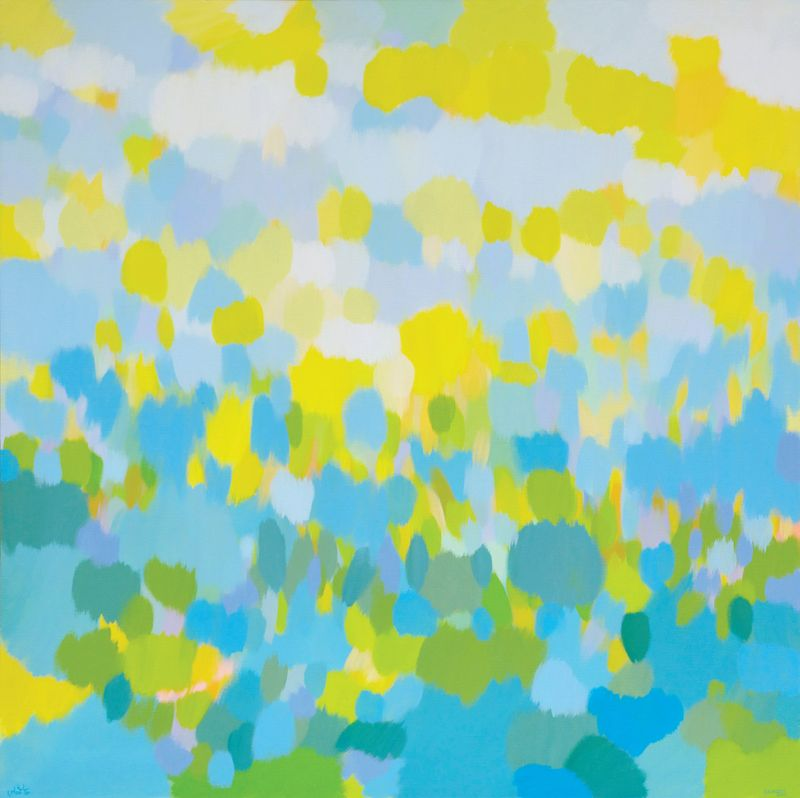Samia Halaby, Clouds and Trees, 2013 71x71x22 180x180cm. Courtesy the artist and Ayyam Gallery.