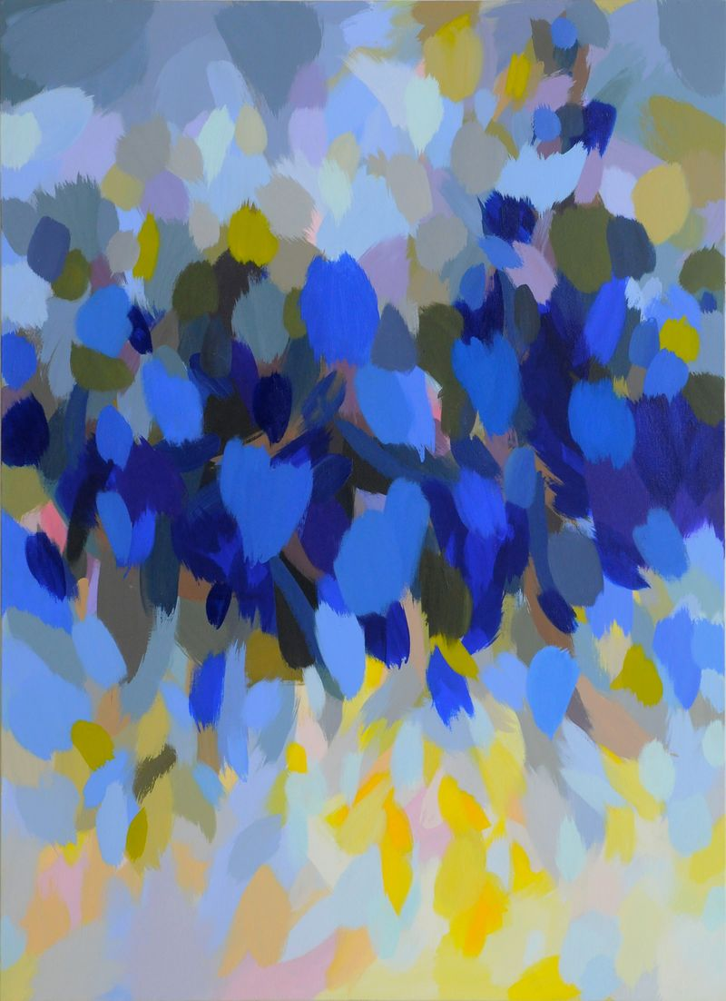 Samia Halaby, Blue Landscape, 2013, 167.5 x 122 cm. Courtesy the artist and Ayyam Gallery.