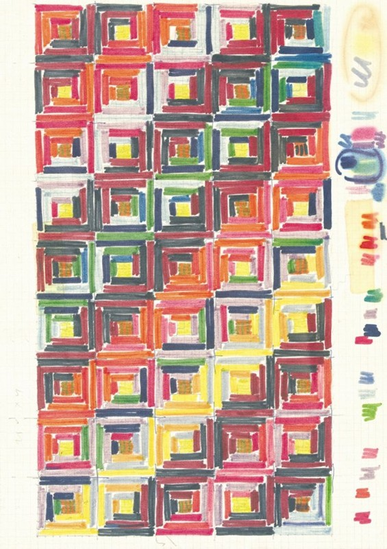 Missoni_Ottavio Missoni Design for tapestry Markers on paper, 29 x 21 cm