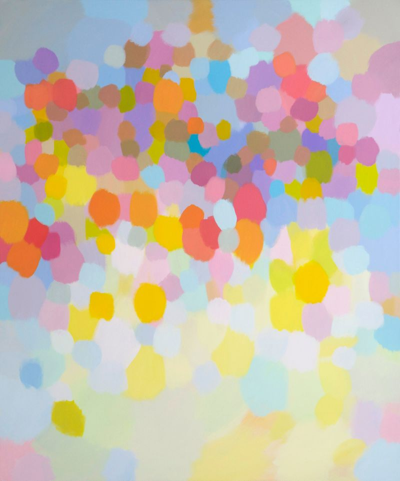Samia Halaby, Pink Clouds, 2013, 183 x 152.5 cm. Courtesy the artist and Ayyam Gallery.