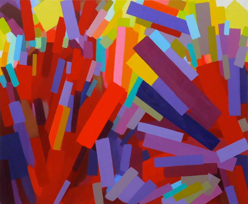 Samia Halaby, Cadmium Red, 2013, 122 x 147 cm. Courtesy the artist and Ayyam Gallery.