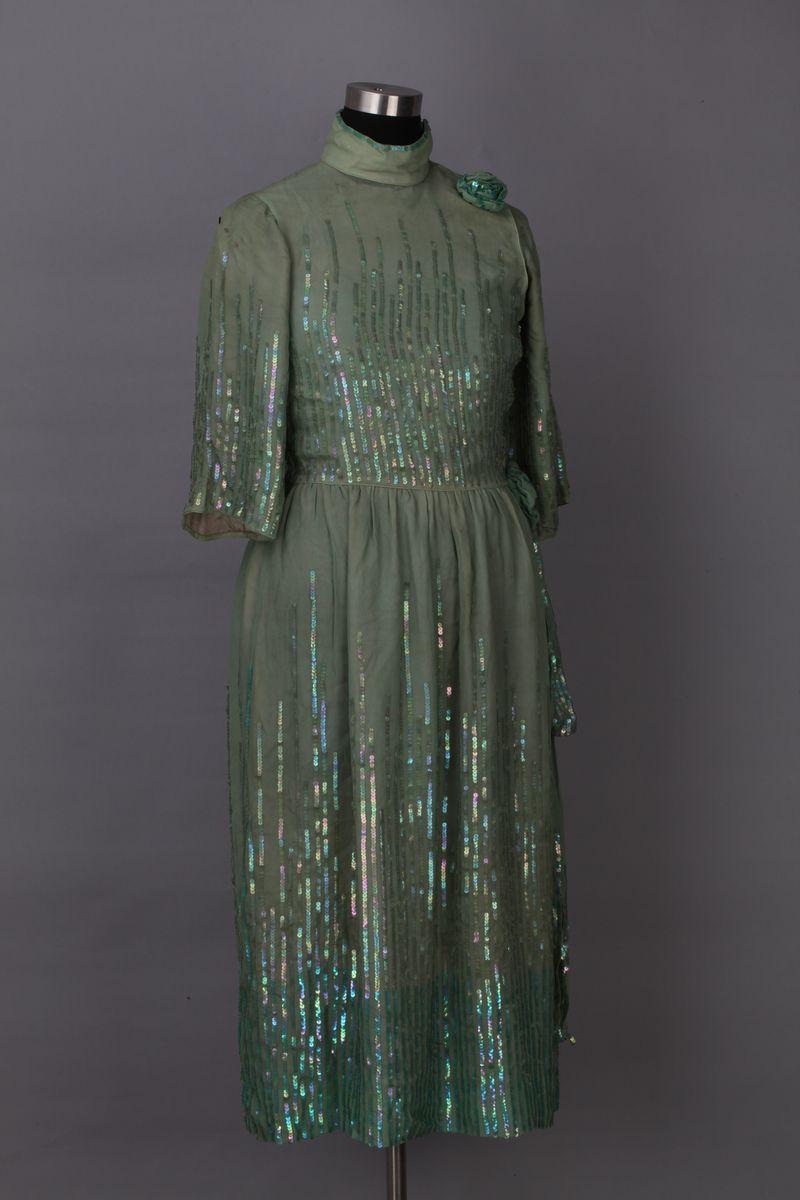 Green qipao with printed fabric, 1930s, China National Silk Museum, Hangzhou