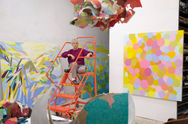 Samia Halaby in her studio, 2013. Courtesy the artist