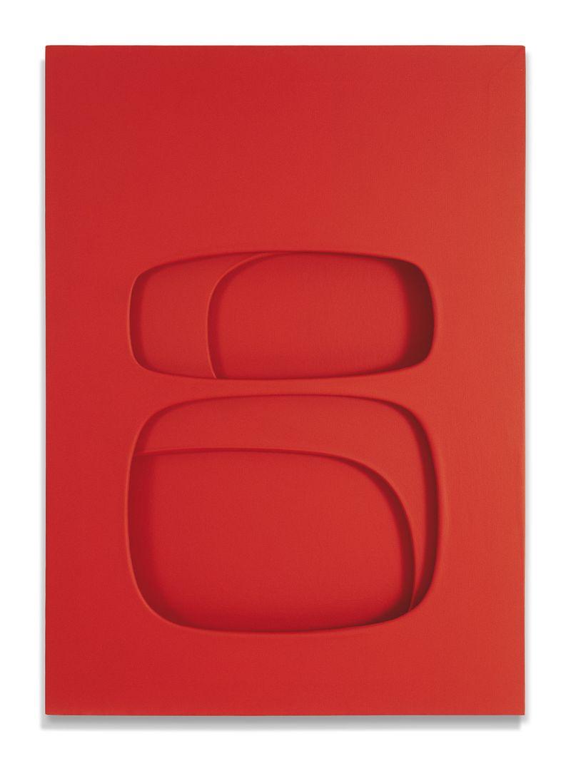 Paolo Scheggi, Essere, 1963, (PS 0060), acrylic on overlapping canvas, 90 x 65 x 5.5 cm, Private collection. Courtesy Galleria d'arte Niccoli
