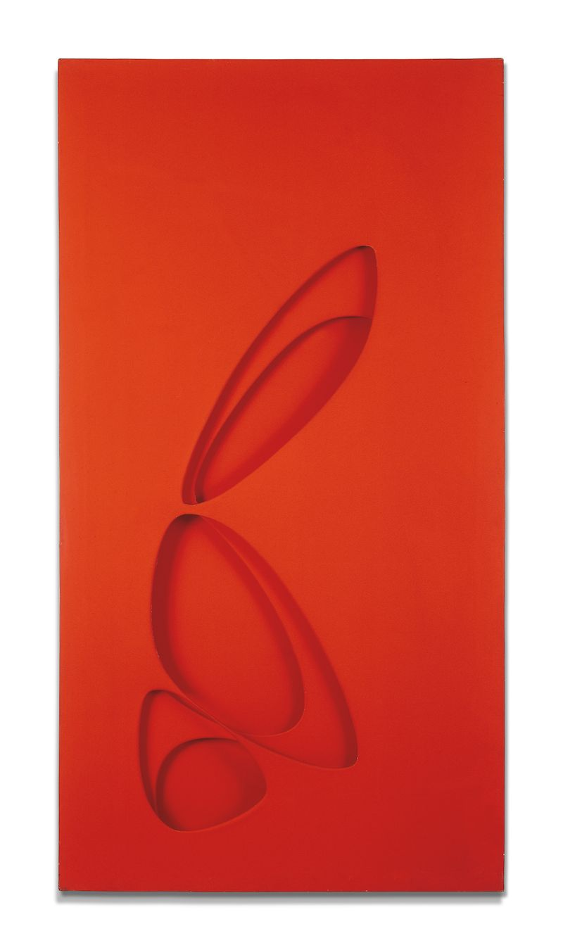 Paolo Scheggi, Intersuperficie curva dal rosso+giallo, 1965, (PS 0023), acrylic on overlapping canvas, 150 x 80 x 7 cm, Private Collection