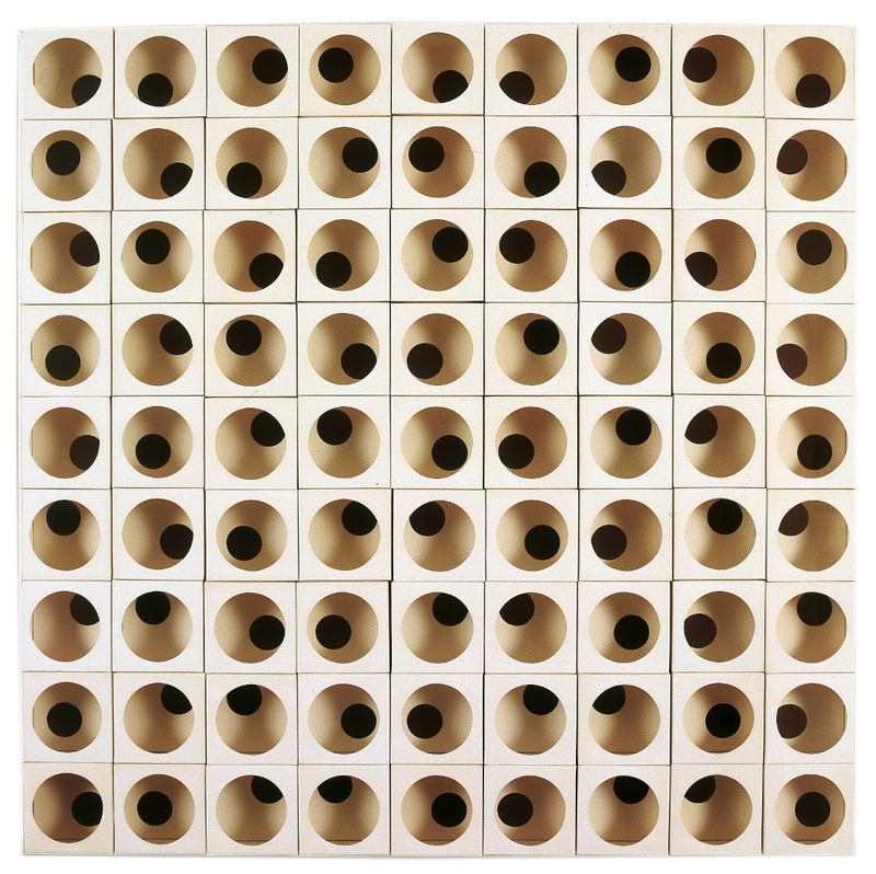Paolo Scheggi, Intersuperficie, 1969, (PS0017), punched cardboard, 92 x 92 x 11 cm, Private Collection