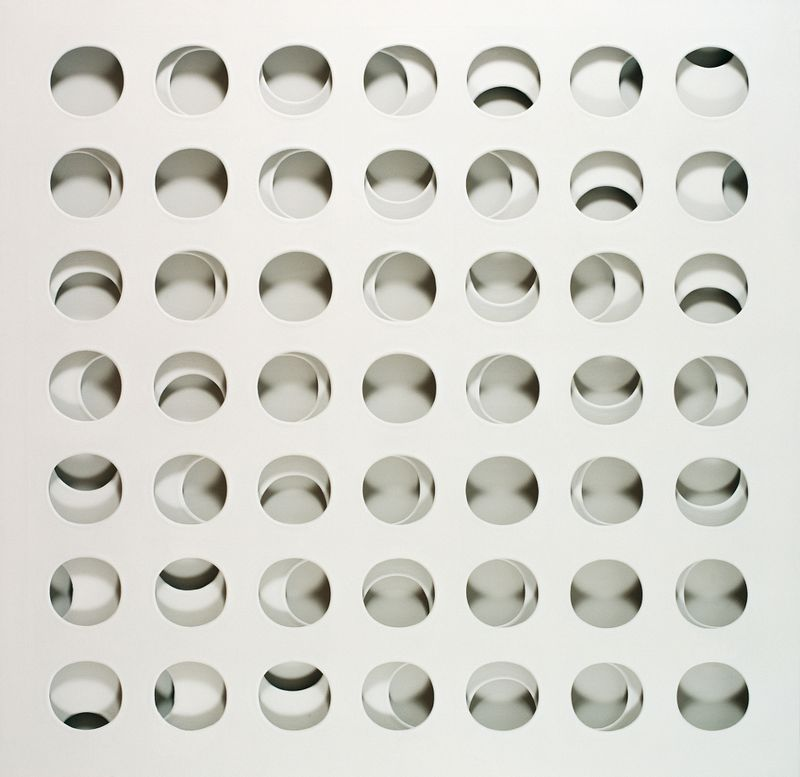 Paolo Scheggi, Intersuperficie curva bianca, 1966, (PS 0059), acrylic on overlapping canvas 133 x 133 x 6 cm, Private Collection