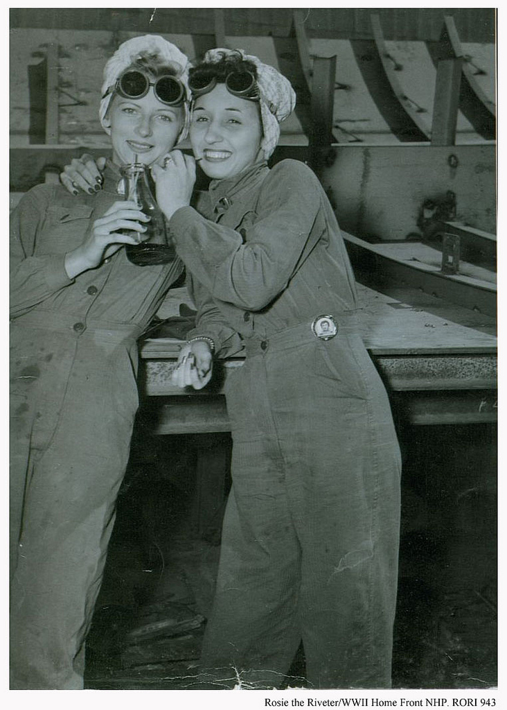 Bennice Vick Russell and sister-in-law Marjorie Vick share a soda during a break at Brown Shipbuilding Co. in Houston, TX. 1944