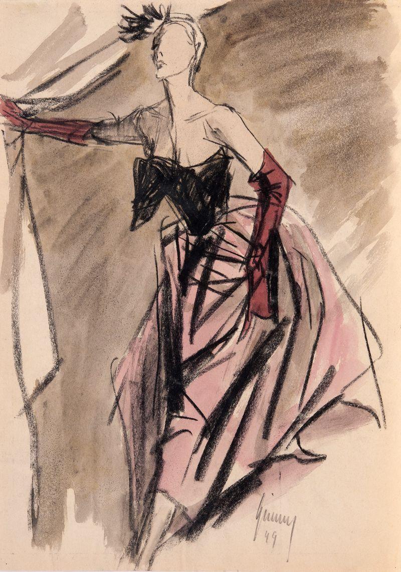 18. Gerd Grimm Frau im Speigel 1949 40x33cms