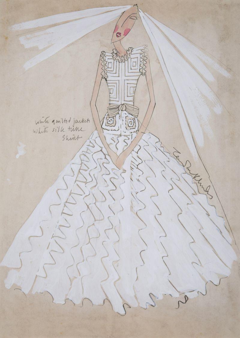 39. Zandra Rhodes Wedding Dress III 30x21cms