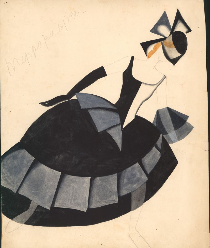 Tatiana Bruni, The Terrorist, Costume Design for ÔÇÿThe BoltÔÇÖ, 1931, gouache and watercolour on paper. Courtesy GRAD and St Petersburg Museum of Theatre and Music