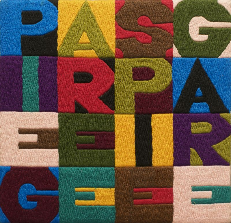 Alighiero Boetti, Piegare e Spiegare, 1990, embroidery on fabric,, 16.5 x 17.5 cm, Courtesy Mazzoleni London
