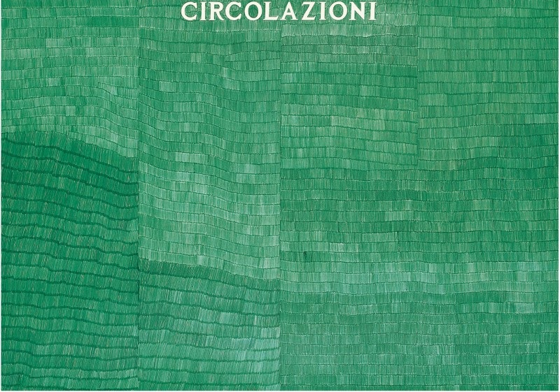 Alighiero Boetti, circolazioni, 1980, ballpoint pen green on paper,  70 x 100 cm, Courtesy Mazzoleni London