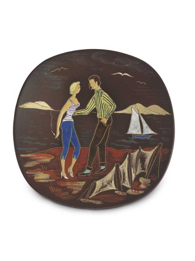 1956-1979 - Wandbord stel aan strand