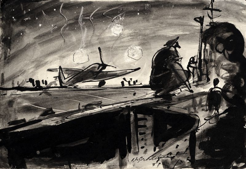 Irwin Crosthwait HMCS Warrior, 1946, Ink & Watercolour, Signed, 15 x 22 cms -ú1,000 -® GRAY MCA