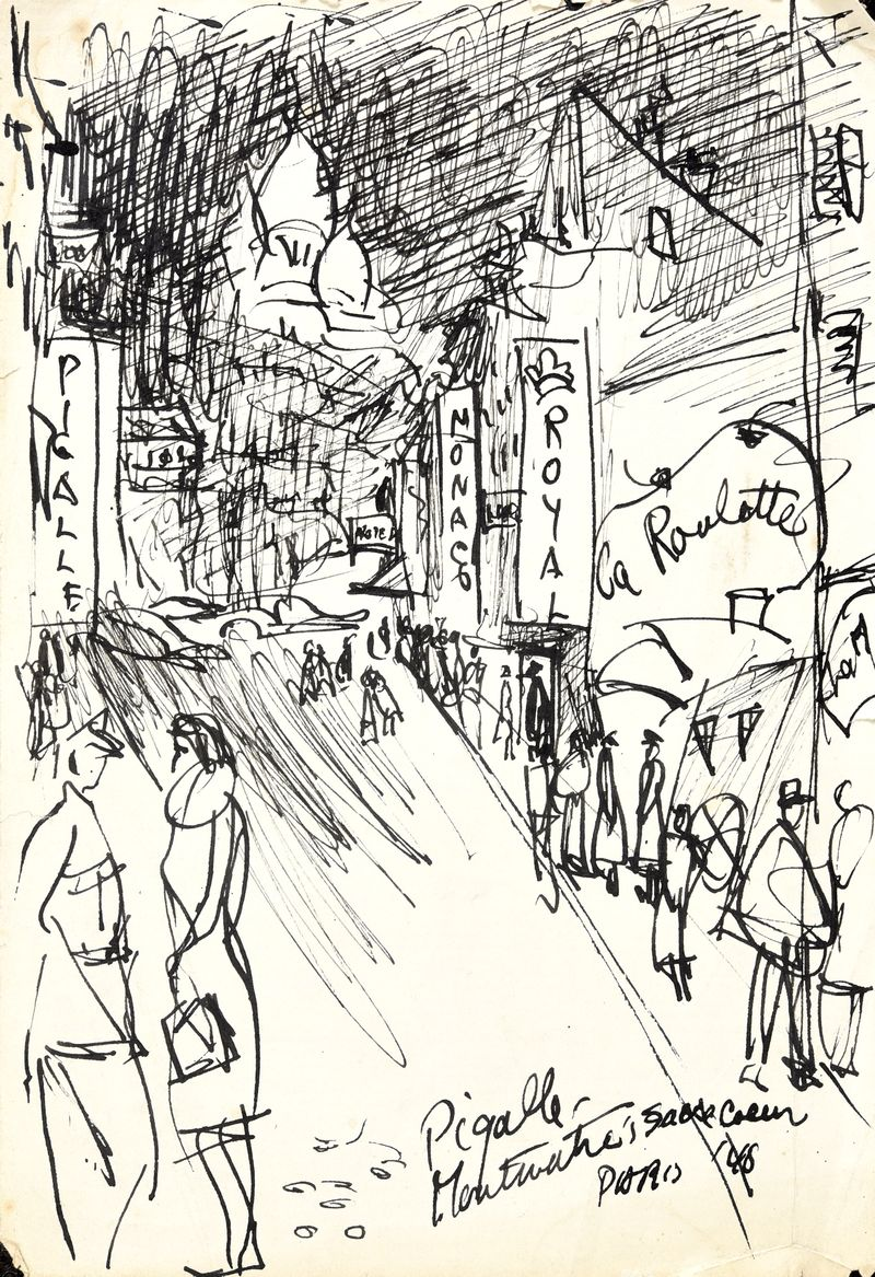 Irwin Crosthwait 1948 Pigalle, Ink 23 x 16 cms inscribed -ú450 -® GRAY MCA