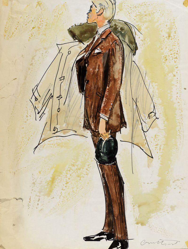 Irwin Crosthwait Gentelman with Trenchcoat C1950s Ink & Watercolour signed 65 x 50 cms -ú1,200 -® GRAY MCA