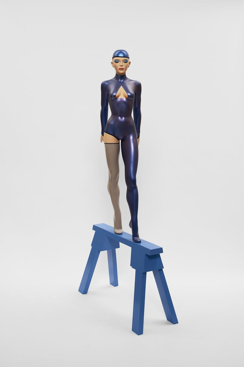 Allen Jones, The Blue Gymnast, 2014, mixed media, 215 x 89 x 45 cm, courtesy the artist and Marlborough Fine Art, London