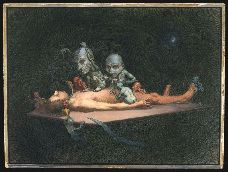 An unconscious naked man