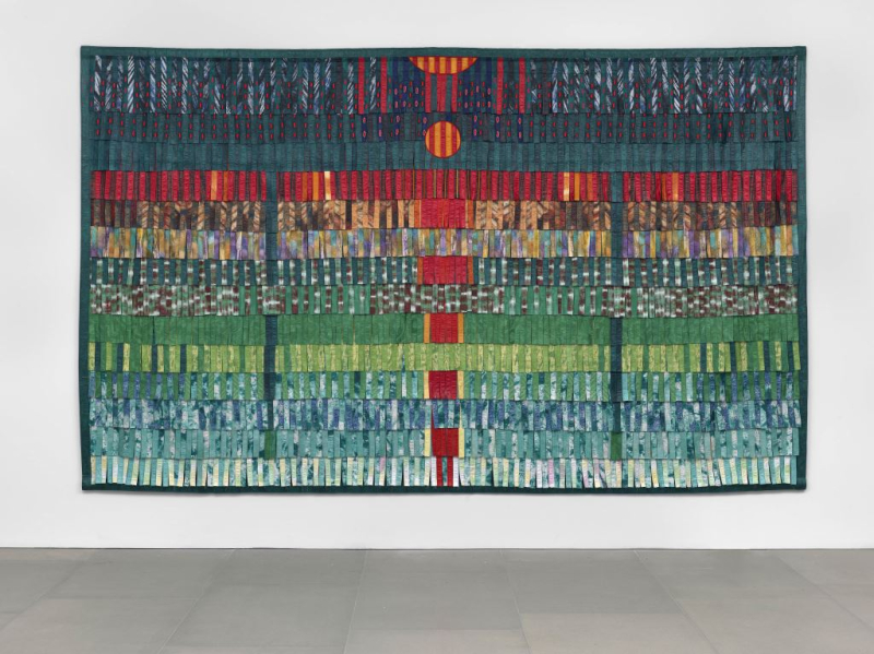 Abdoulaye Konaté%2c Composition vert émeraude et rouge%2c 2016%2c Courtesy  the artist and BlainSouthern%2c Photo Todd White