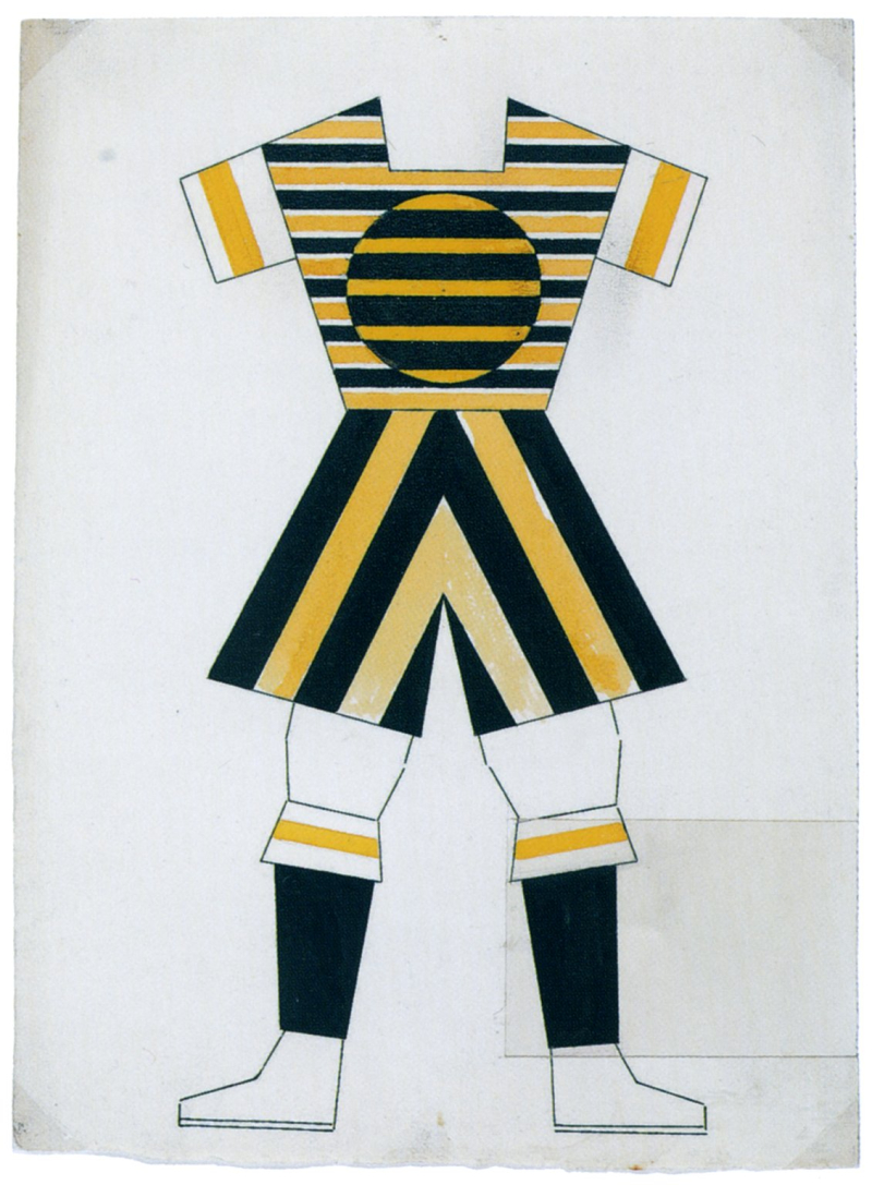 Varvara Stepanova, Design for Sports Clothing for a Footballer (1923, gouache and India)