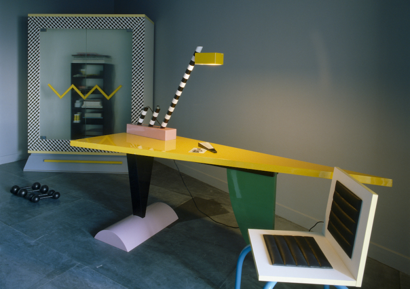 Michele De Lucchi, Pacific wardrobe, Oceanic table lamp. Peter Shire, Brazil table. Photograph_Jacques Schumacher