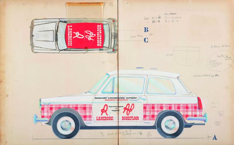 15 Pino Tovaglia bozzetto a tempera per pubblicità dinamica montata su automobile per termocoperte e tappeti Lanerossi e Rossifloor primi anni sessanta