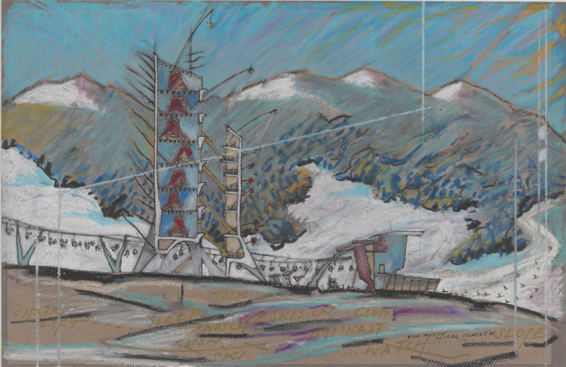 Nigel Coates  1949 Ski Station  1982 Oil pastel  pen and black ink  gold marker ink  and spattered white ink on dark gray paper (faded to brown) Imagesheet 32.5 x 50 cm  From the Collection of the Alvin Boyarsky Archive