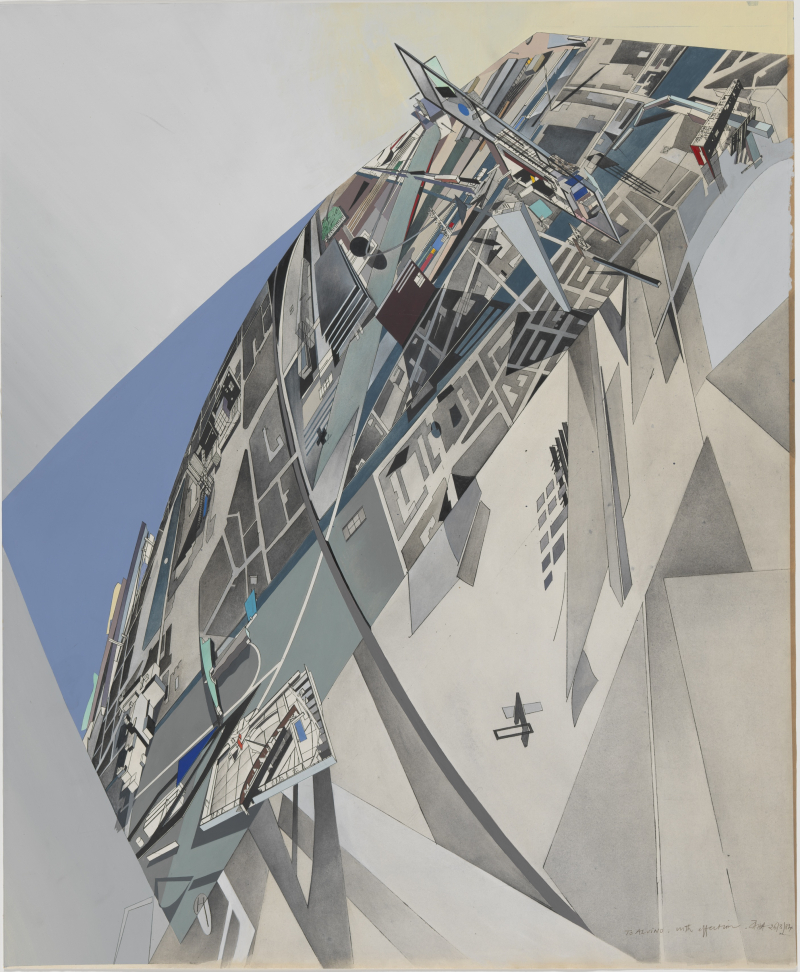Zaha Hadid  The World (89 Degrees)  1984 Print with hand applied gouache and ink wash on paper Sheet 69.9 x 57.5 cm  From the Collection of the Alvin Boyarsky Archive image © Zaha Hadid Foundation