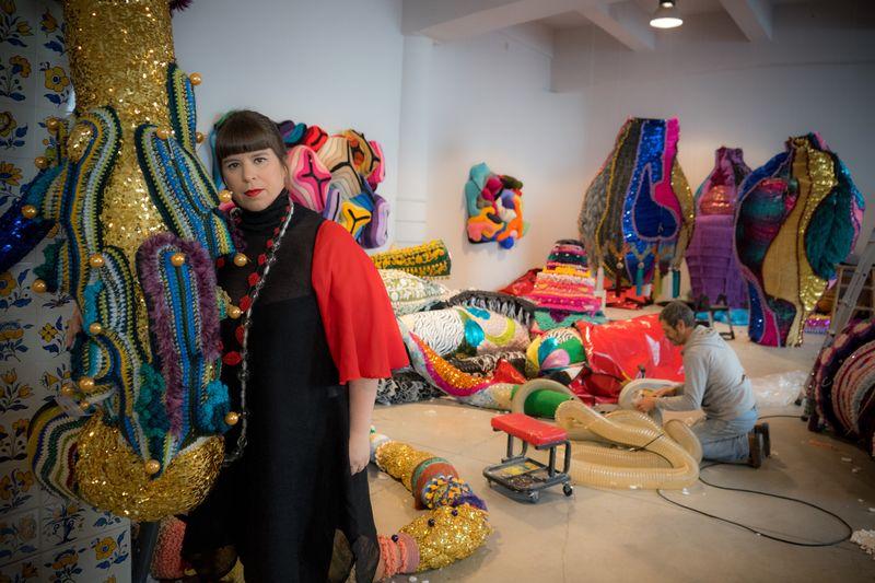 Studio shot, Joana Vasconcelos at her studio, © Alfredo Cunha