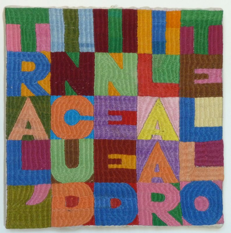 Alighiero Boetti, Tra l'incudine e il martello, 1985, embroidery on fabric,, 21 x 21 cm, Courtesy Mazzoleni London