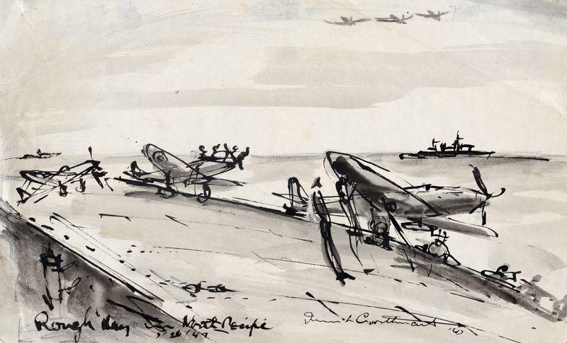 Irwin Crosthwait Rough Day, 1947, Ink & Wash, Signed & Inscribed, 17 x 28 cms -ú1,000 -® GRAY MCA