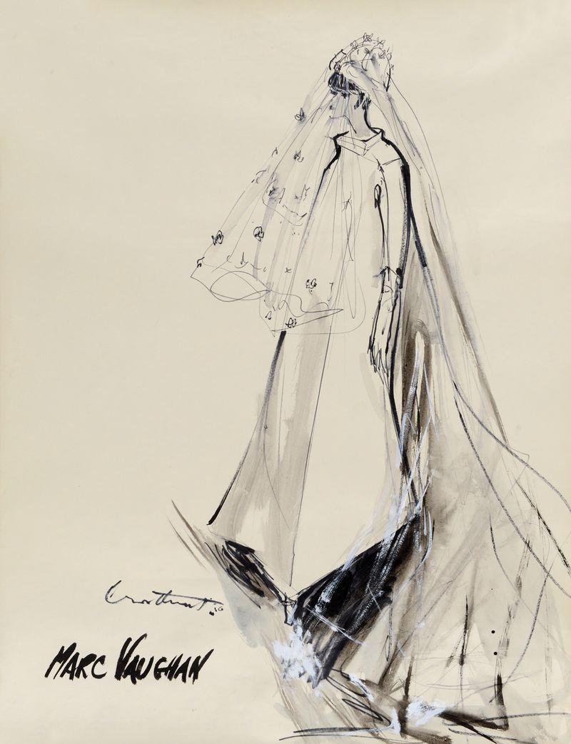 Irwin Crosthwait Marc Vaughan Wedding Dress 1966, Ink & Watercolour, signed 65 x 50 cms -ú1,400 -® GRAY MCA