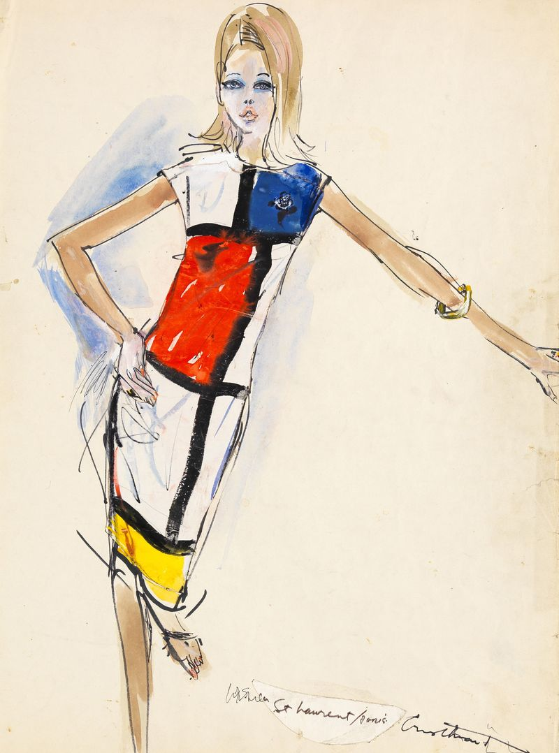 Irwin Crosthwait Mondrian Dress Yves St Laurent 1965, Watercolour signed inscribed 65 x 50 -ú2,500 -® GRAY MCA