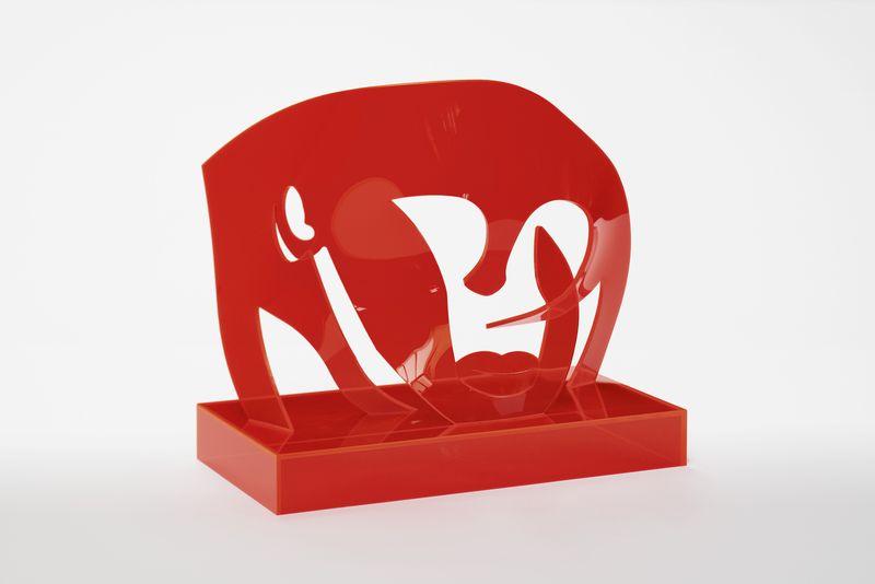 Allen Jones, Red Head, 2015, Perspex, 36 x 40 x 20 cm, courtesy the artist and Marlborough Fine Art, London