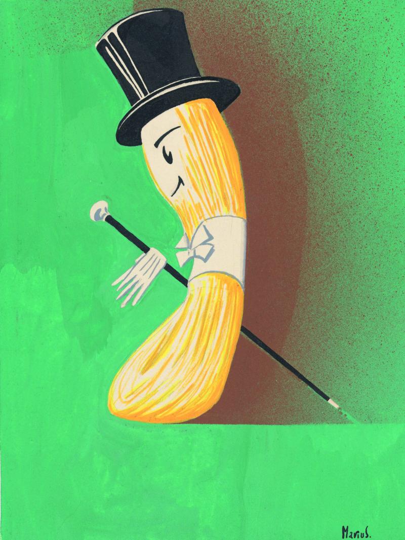 1_Marius  bozzetto di illustrazione a tempera su carta per pubblicità filati Lanerossi anni cinquanta