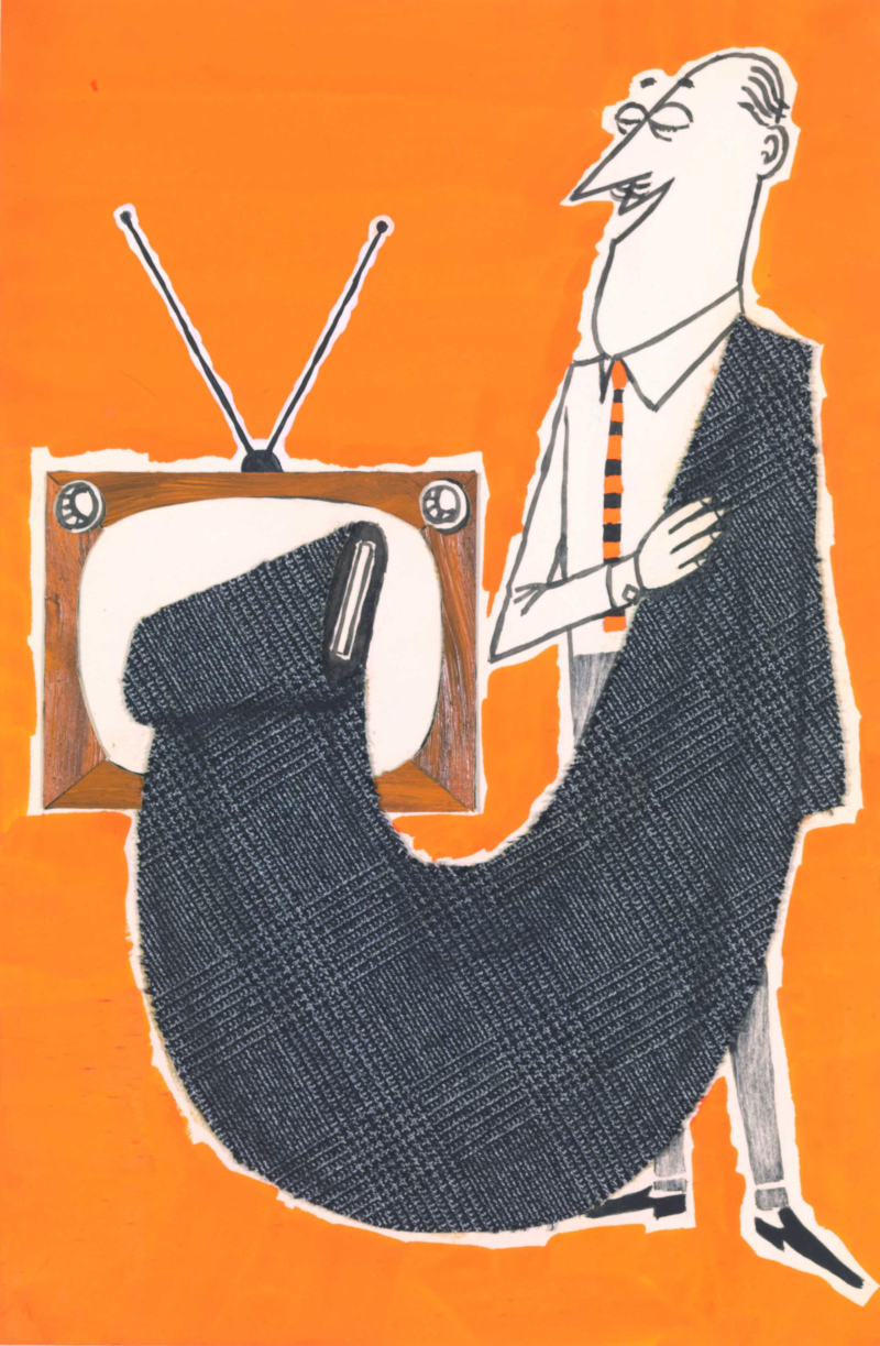 5 Bozzetto pubblicitario a tempera su carta con inserto in tessuto per cartolina Lanerossi  fine anni cinquanta