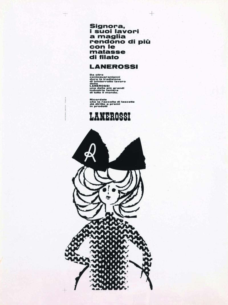 8 Pino Tovaglia annuncio pubblicitario per filati Lanerossi 1958 ca