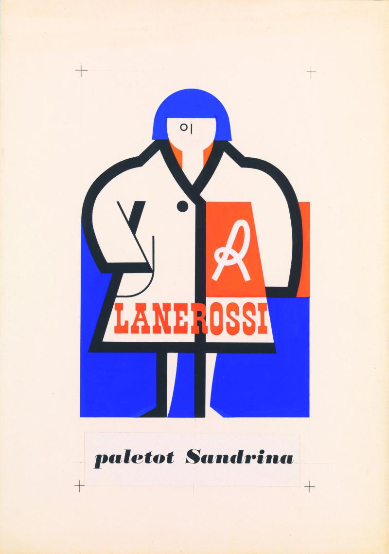 9 Collage per annuncio pubblicitario paletot Sandrina Lanerossi anni cinquanta