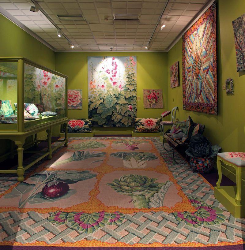AMiB Kaffe Fassett - Vegetable rug and Hollyhock tapestry