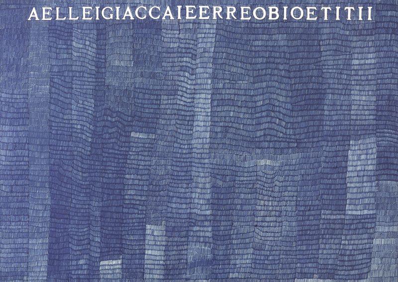 Alighiero Boetti, AELLEIGIACCAIEERREOBIOETITII, 1973, ballpoint pen on card on paper, 70 x 100 cm, Courtesy Mazzoleni London