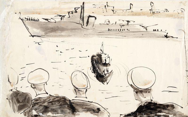 Irwin Crosthwait Departure, 1945, Ink & Wash, 21 x 33 cms -ú1,000 -® GRAY MCA