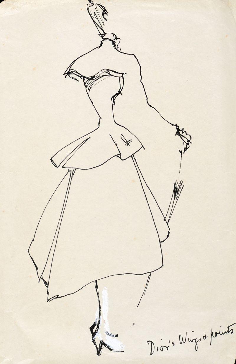 Irwin Crosthwait Dior C1948 Pen & Ink inscribed 30 x 22 cms -ú900 -® GRAY MCA