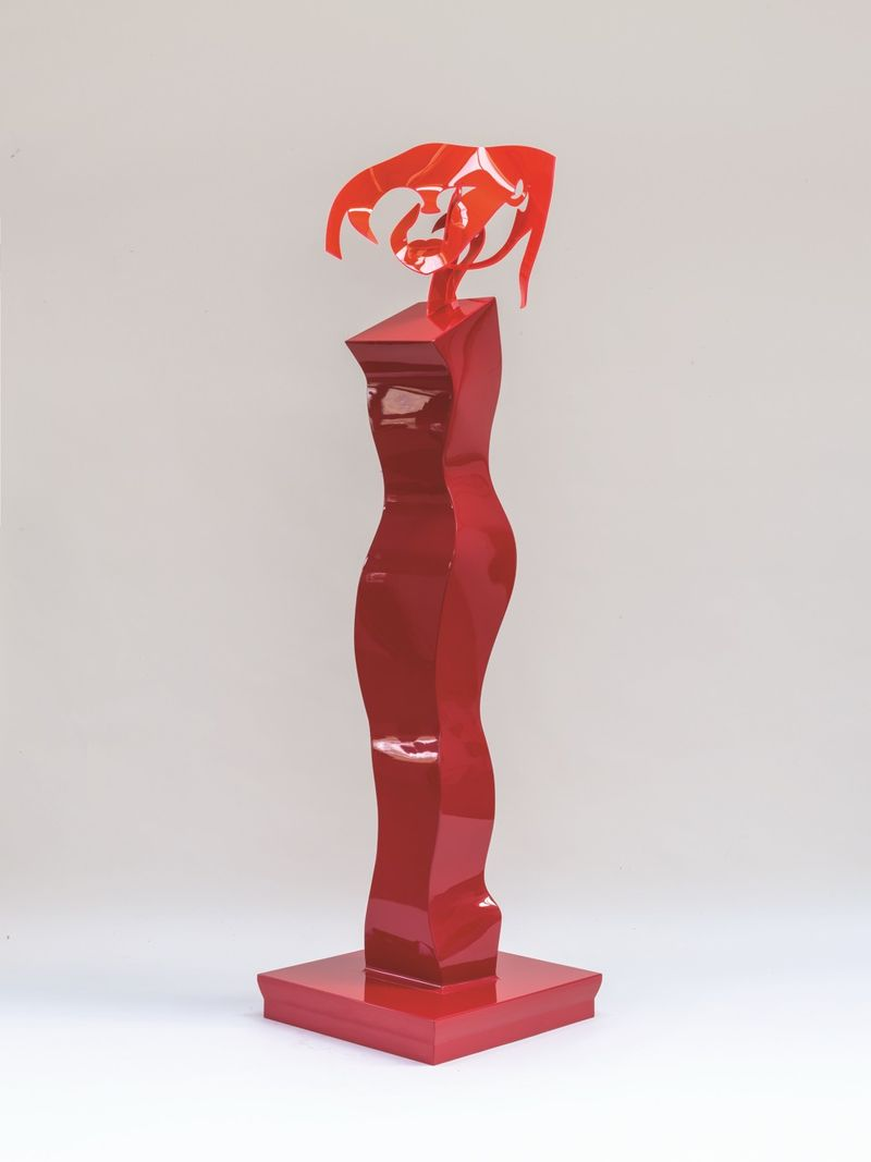 Allen Jones, Red Queen, 2014, mixed media, timber figure, spray painted, perspex head, 200 x 55 x 55 cm, courtesy the artist and Marlborough Fine Art, London