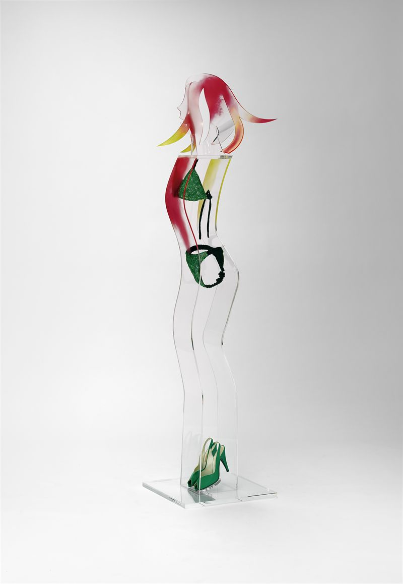 Allen Jones, Green Shoes, 2015, Perspex and mixed media, 186 x 60 x 45 cm, courtesy the artist and Marlborough Fine Art, London