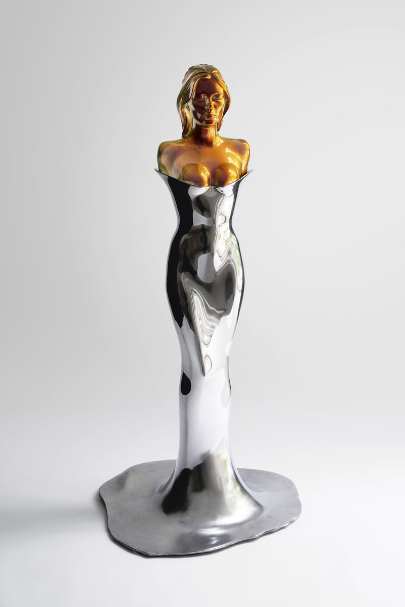 Allen Jones, A Model Model, 2014-15, polished stainless steel body, spray painted cast resin bust, 185.5 x 86 x 79 cm, courtesy the artist and Marlborough Fine Art, London