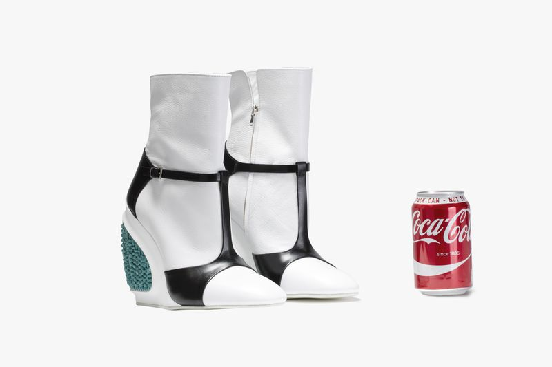 Kompromat shoe, Optic white goat leather with gloss Italian box calf, gunpowder fuse trim and printed components_coke