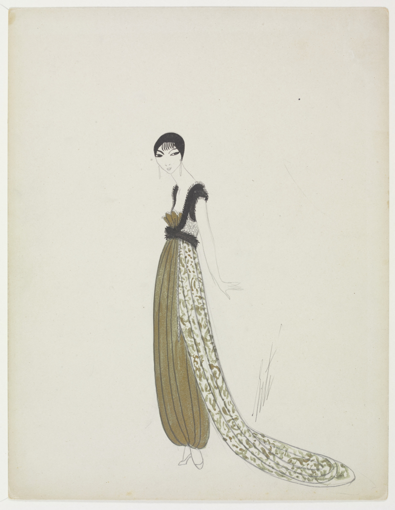 1_Fashion_design_for_an_Evening_Dress_Ert+®_for_Paul_Poiret_Paris_designed_New_York_drawn_1913-14_designed_1950s_drawn._Copyright_Victoria_and_Albert_Musuem_London